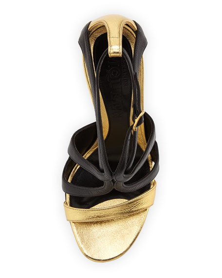 Strappy Metallic Napa Sandal, Black/Gold