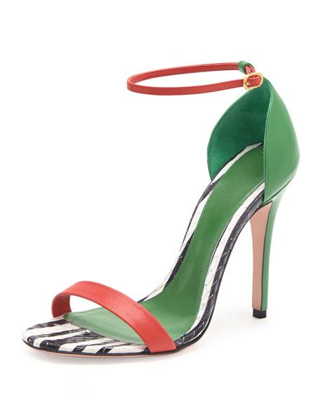 Alexander McQueen Snake & Napa Colorblock Sandal, Green/Black/Red