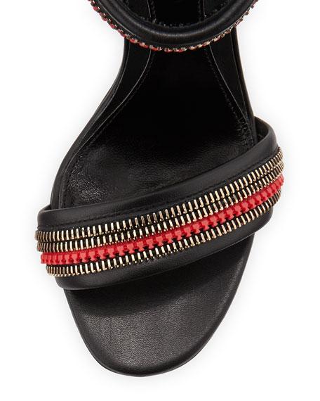 Zipper-Trimmed Ankle-Wrap Sandal, Black/Red