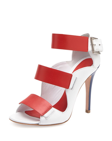 Triple Band Leather Sandal, Red/Ivory
