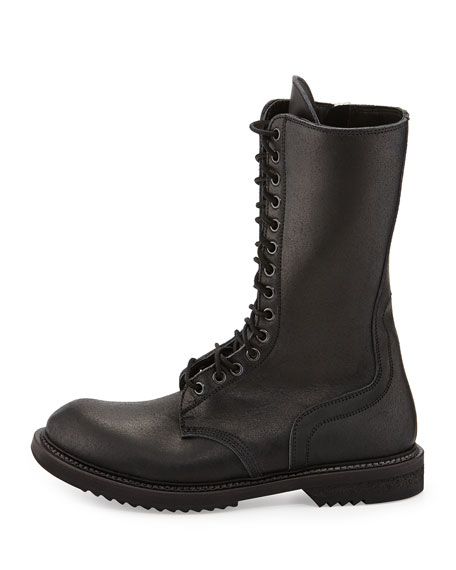 Lace-Up Leather Army Boot, Black
