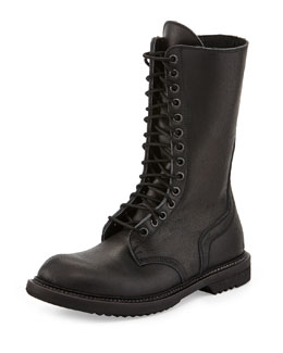 Rick Owens Lace-Up Leather Army Boot, Black