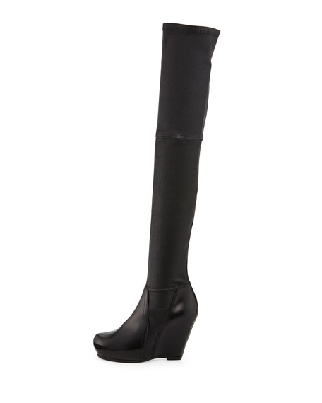 rick owens leather the knee stretch wedge boot black