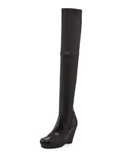 Rick Owens Leather Over-the-Knee Stretch Wedge Boot, Black