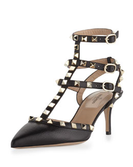 Valentino Rockstud Leather Low-Heel Slingback, Black