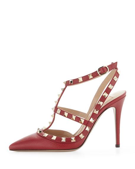 Rockstud Leather Slingback Sandal, Scarlet
