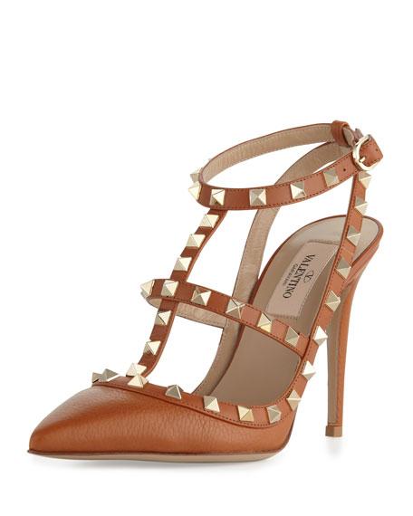 Rockstud Leather Slingback Sandal, Cognac