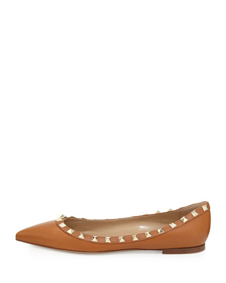Rockstud Leather Ballerina Flat, Tan