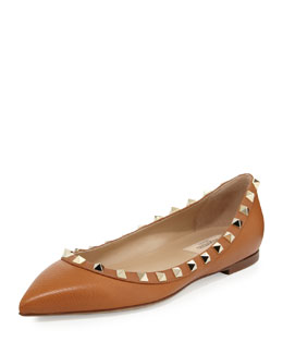 Valentino Rockstud Leather Ballerina Flat, Tan