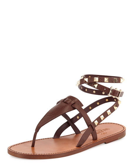 Rockstud Ankle-Wrap Thong Sandal, Chocolate