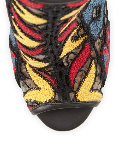 Embroidered Peep-Toe Ankle Boot, Black Multi