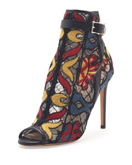 Valentino Embroidered Peep-Toe Ankle Boot, Black Multi