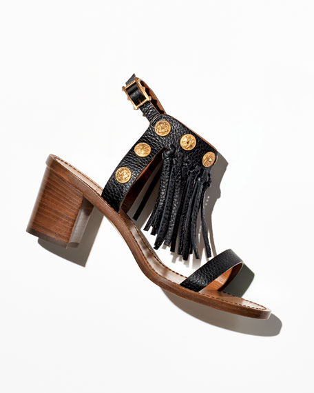 Leather Fringe Sandal, Black