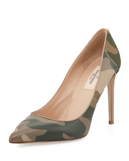 Valentino Patchwork Camo Pointed Pump, Safari