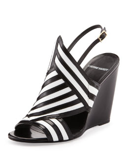 Pierre Hardy Bicolor Wedge Sandal, Black/White