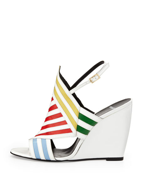 Multicolor Striped Wedge Sandal
