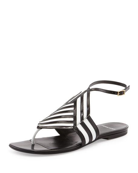 Bicolor Flat Sandal, Black/White