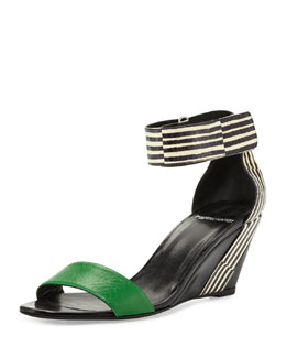 Pierre Hardy Mixed-Media Demi-Wedge Sandal