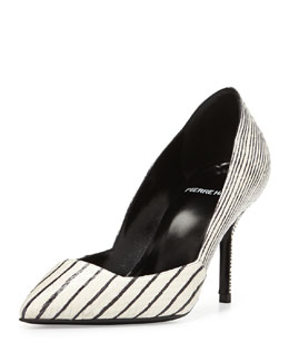 Pierre Hardy Snakeskin Point-Toe Pump, Black/White