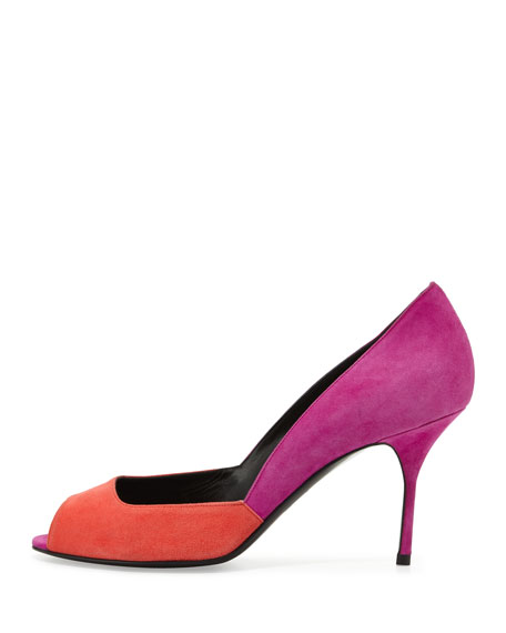 Colorblock Peep-Toe Pump, Red/Fuchsia