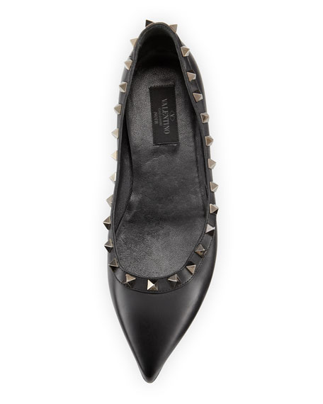 Noir Rockstud Leather Ballerina