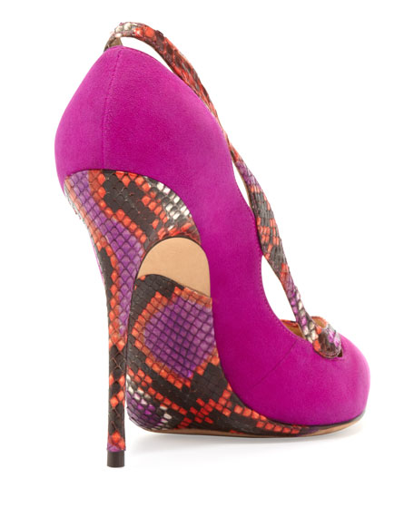 Suede & Python Point-Toe Pump, Azalea