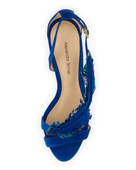 Suede and Python Feather Sandal