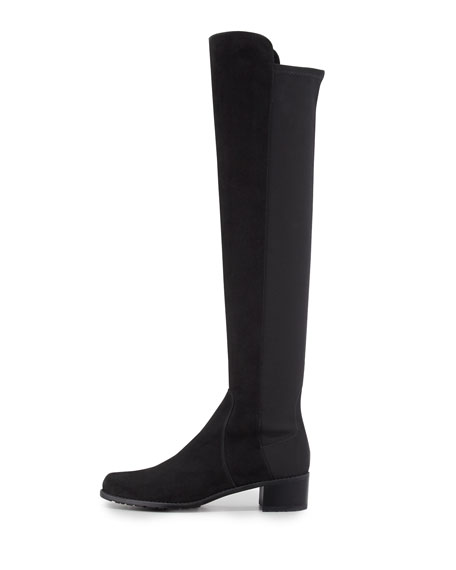 Reserve Wide Suede Stretch Over-the-Knee Boot, Black