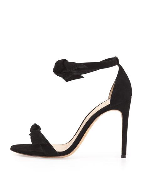 Suede Tie-Front Sandal, Black