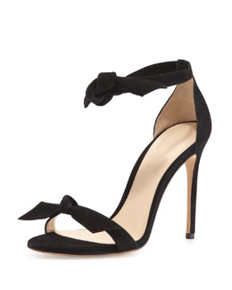 Alexandre Birman Suede Tie-Front Sandal, Black