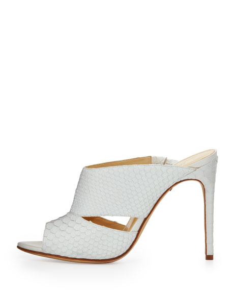 High-Heel Python Slide, White