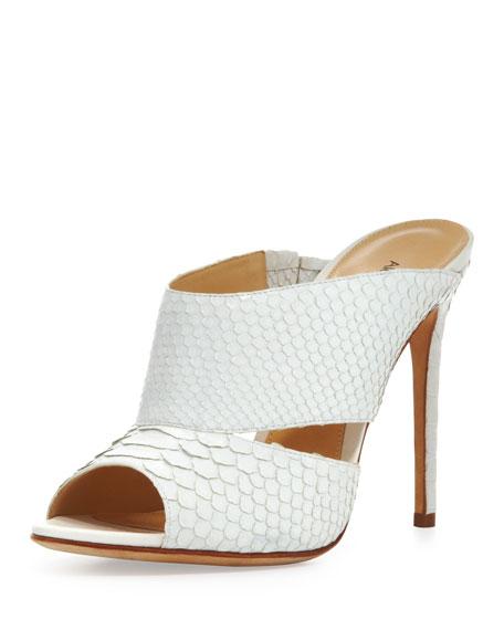High-Heel Python Slide, White