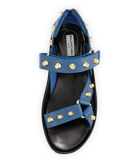 Studded Flat Leather Sandal, Bleu