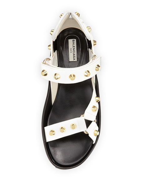 Studded Flat Leather Sandal, Bianco