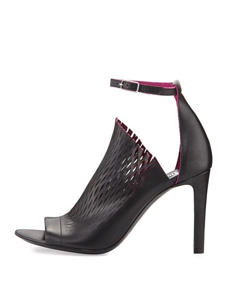 Laser-cut Ankle-Wrap Glove Sandal, Noir/Violet