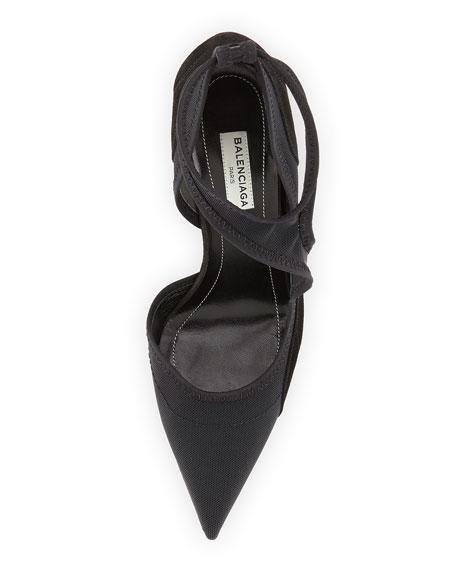 Balenciaga Mesh Point-Toe Cutout Pump, Noir