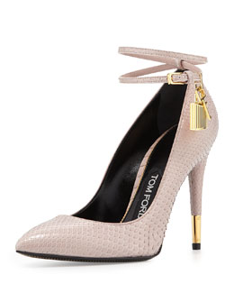 Tom Ford Python Lock High Heel Pointed Toe Pump, Nude
