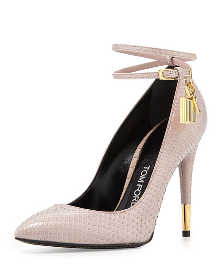 Python Lock High Heel Pointed Toe Pump, Nude