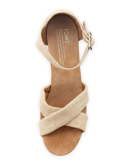 Fabric Cork Wedge Sandal, Natural