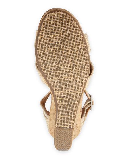 Fabric Cork Wedge Sandal, Natural