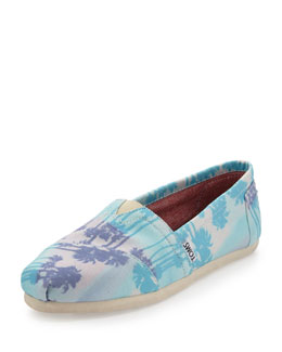 TOMS Palm Tree Canvas Slip-On, Blue