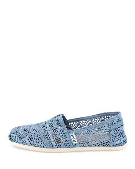 Crocheted Slip-On Shoe, Denim