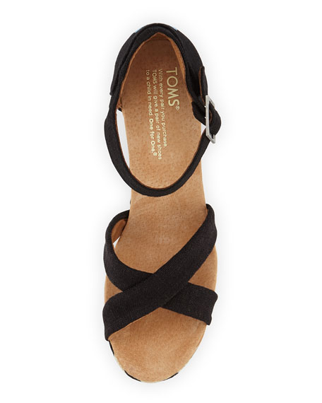 Canvas Chevron-Wedge Sandal