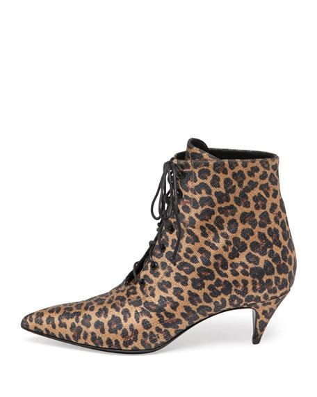 Lace-Up Kitten Heel Bootie, Leopard