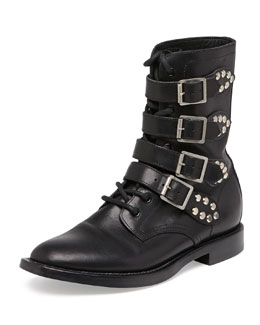 Saint Laurent Ranger Studded Motorcycle Boot, Black
