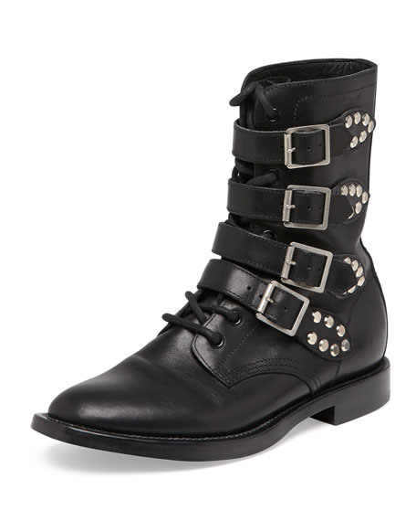 Ranger Studded Motorcycle Boot, Black