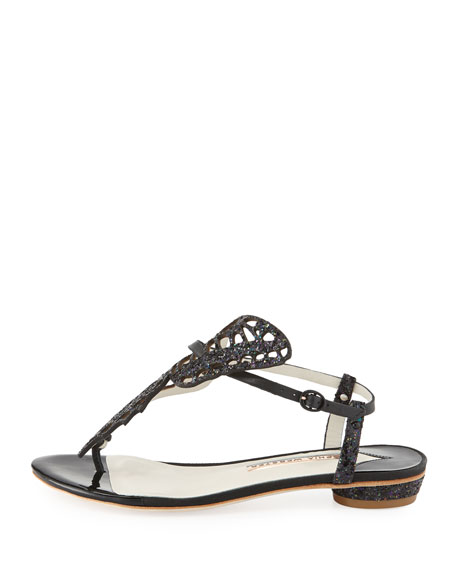 Mariposa Butterfly Cutout Flat Thong Sandal, Black
