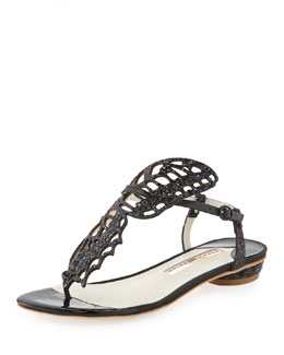 Sophia Webster Mariposa Butterfly Cutout Flat Thong Sandal, Black