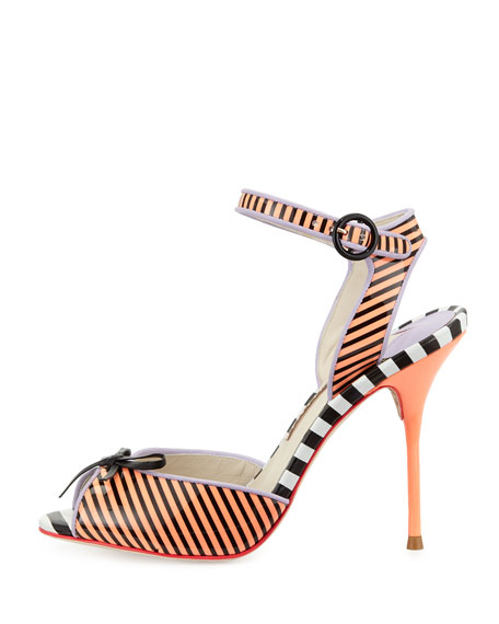 Lula Striped Peep-Toe Sandal
