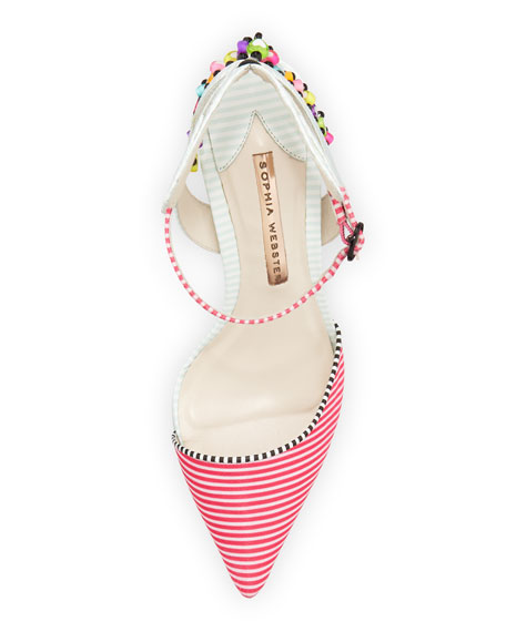 Amina Striped Beaded Pump, Pink Stripe